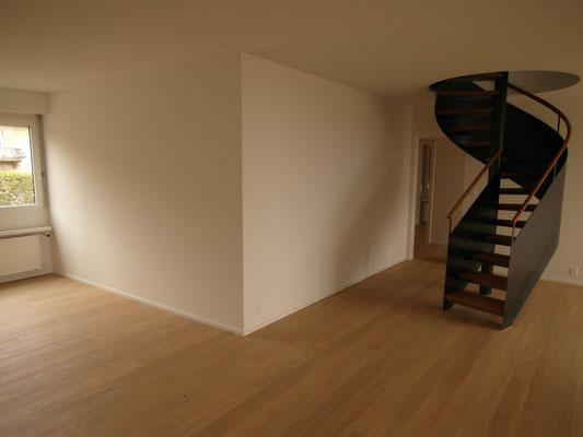 Wohnzimmer nach Gipserarbeiten GKB-Trennwand
