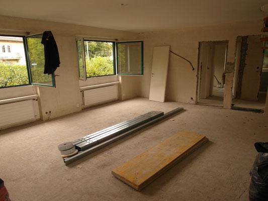 Wohnzimmer während der Bauphase