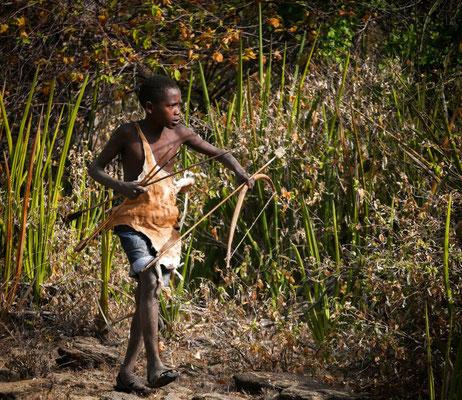 Jeune Hadzabé chassant les oiseaux