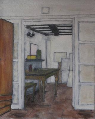 Nello studio. Acrilico e olio di oliva su tela (50 cm x 60 cm)
