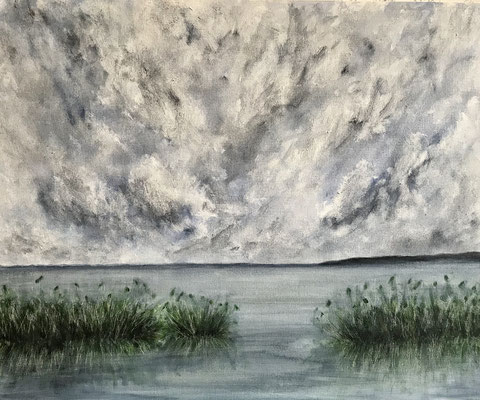 Durante la pioggia. Acrilico su cartone telato inciso (60 cm x 50 cm)
