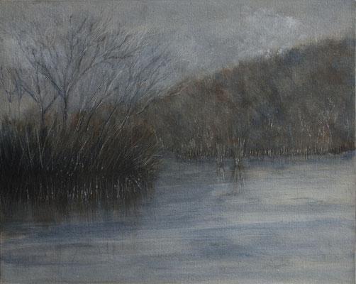 Lago. Acrilico su cartone telato inciso (50 cm x 40 cm)