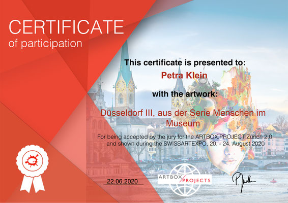 Certificate of Participation SwissArtExpo 2020  Petra Klein, I
