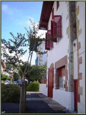 Aïnoha : la rue principale et vieilles maisons basques (Pays Basque français)