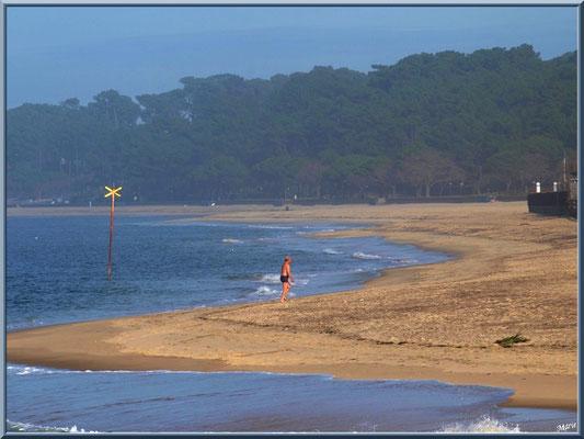 Un baigneur courageux, en janvier, sur la plage du Moulleau à Arcachoon