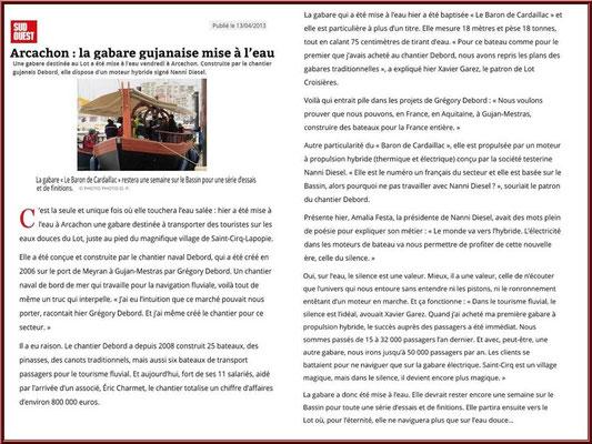 Article publié dans le Journal Sud-Ouest le 13 avril 2013, Chantier Naval Debord et Charmet, Port de Meyran à Gujan-Mestras, Bassin d'Arcachon (33)