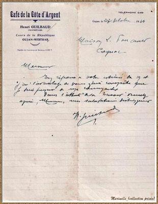 Gujan-Mestras autrefois : en 1944, une lettre adressés par Mr Henri Guilbaud du Café de la Côte d'Argent, Bassin d'Arcachon (carte postale, collection privée)