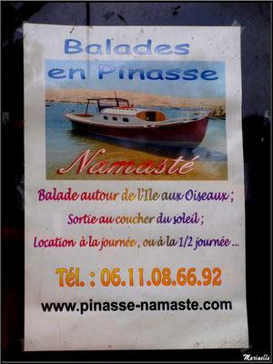 Affiche publicitaire pour promenade en pinasse sur le Bassin, Village de L'Herbe, Bassin d'Arcachon (33)