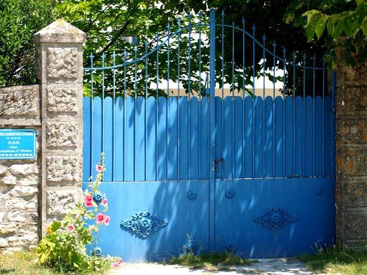 Portail bleu aux valérianes à Talmont-sur-Gironde (Charente-Maritime)