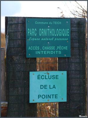 """Panneau """"Ecluse de La Pointe"""" en bordure du Sentier du Littoral, secteur Moulin de Cantarrane, Bassin d'Arcachon"""