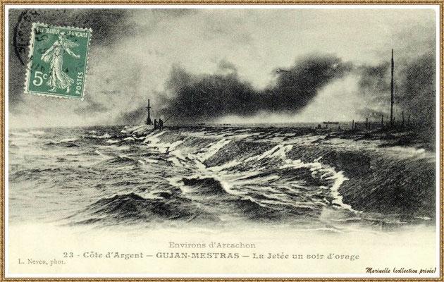Gujan-Mestras autrefois : en 1910, la Jetée du Christ un soir d'orage, Port de Larros, Bassin d'Arcachon (carte postale, collection privée)