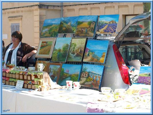Marché de Provence, jeudi matin à La Roque d'Anthéron (13), tableaux, confitures...