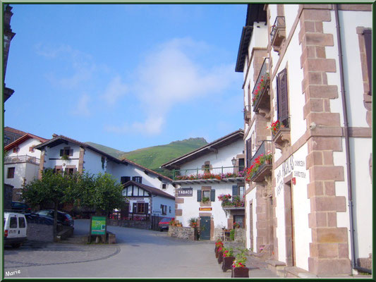 Ruelle et commerce fleuri au village de Zugarramurdi (Pays Basque espagnol)