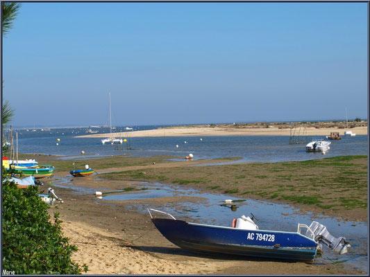 """""""Le Mimbeau"""", ses bateaux, la plage, le Bassin et la jetée """"Bélisaire"""" à l'horizon (Cap Ferret)"""