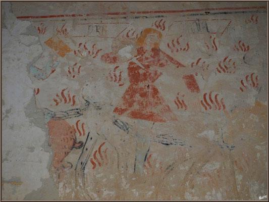 Eglise St Michel du Vieux Lugo à Lugos (Gironde) : fresque murale, homme (chasseur ?) avec animal enchaîné et croupe d'animal (cochon ?)