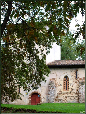 Eglise St Michel du Vieux Lugo à Lugos (Gironde) : façade Sud, l'entrée et le clocher, derrière les chênes