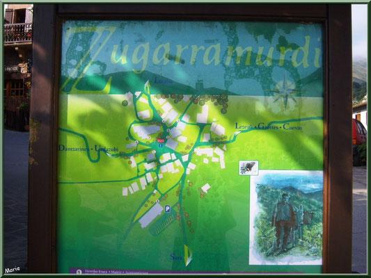 Plan du village de Zugarramurdi sur la place de l'église (Pays Basque espagnol)