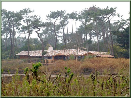 La conche à marée basse avec une de ses belles villas en bois (Cap Ferret)