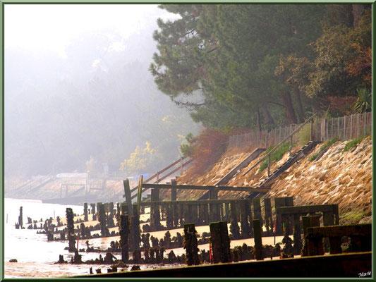 Quartier Chapelle Algérienne, la plage, la digue et les escaliers vers les propriétés bord de mer (dans la brume matinale), village de L'Herbe, Bassin d'Arcachon (33)