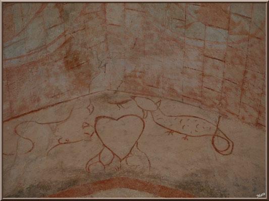 Eglise St Michel du Vieux Lugo à Lugos (Gironde) : fresque murale en arc dans la voûte du choeur