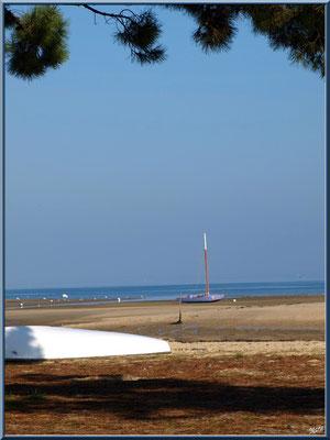 """""""Le Mimbeau"""" à marée basse, bac à voile et barque retournée (Cap Ferret)"""
