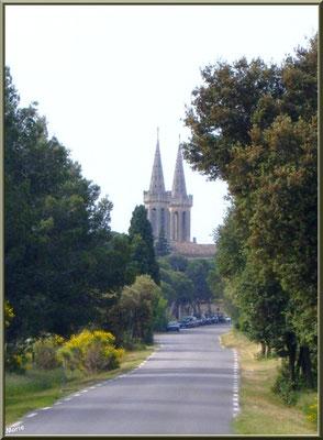 L'abbaye vue au loin depuis la route venant de Barbentane