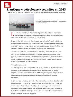 Article publié dans le Journal Sud-Ouest le 17 avril 2013, Chantier Naval Debord et Charmet, Port de Meyran à Gujan-Mestras, Bassin d'Arcachon (33)