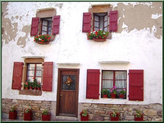 Maison fleurie et porte avec croix au village de Zugarramurdi (Pays Basque espagnol)