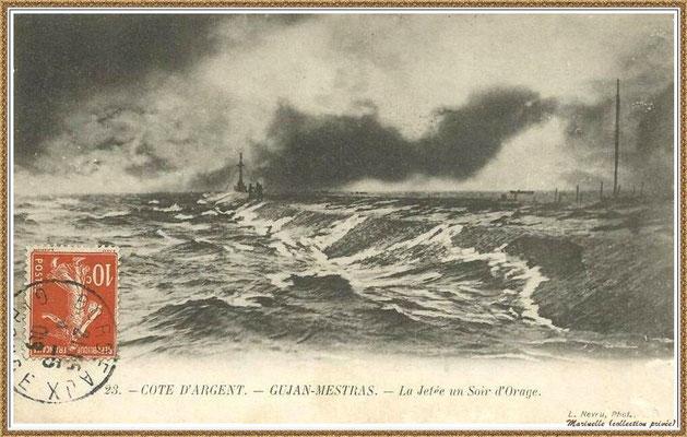 Gujan-Mestras autrefois : en 1909, la Jetée du Christ un soir d'orage, Port de Larros, Bassin d'Arcachon (carte postale, collection privée)
