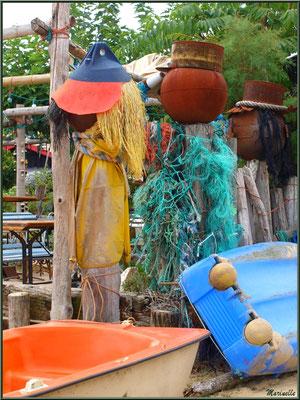 Déco d'une dégustation d'huîtres, Village de L'Herbe, Bassin d'Arcachon (33)