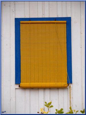 Maison cabane Mathilde, fenêtre au store en bois tressé, village de L'Herbe, Bassin d'Arcachon (33)