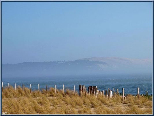 """""""La Pointe"""" et en toile de fond la Dune du Pyla dans brume (Cap Ferret)"""