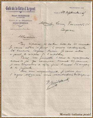 Gujan-Mestras autrefois : en 1947, une lettre adressés par Mr Henri Guilbaud du Café de la Côte d'Argent, Bassin d'Arcachon (carte postale, collection privée)