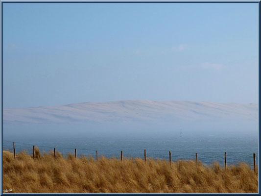 """""""La Pointe""""et en toile de fond la Dune du Pyla dans brume (Cap Ferret)"""