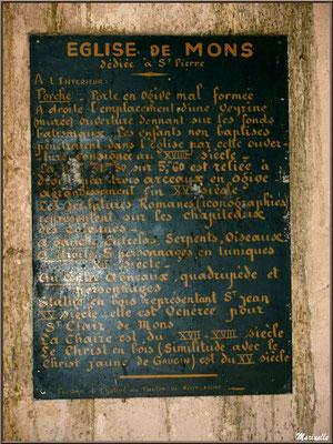 Une des inscriptions sous le porche d'entrée de l'église Saint Pierre de Mons à Belin-Beliet (Gironde)
