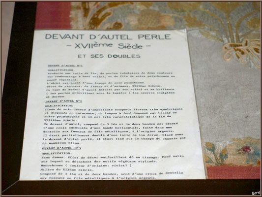 Eglise Sainte Radegonde de Talmont-sur-Gironde (Charente-Maritime) : panneau du devant d'autel perle XVIIème siècle