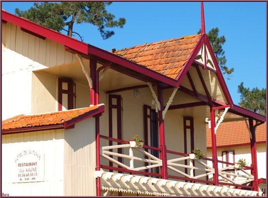 L'Hôtel de la Plage au Village de L'Herbe, détail balcon, village de L'Herbe, Bassin d'Arcachon (33)