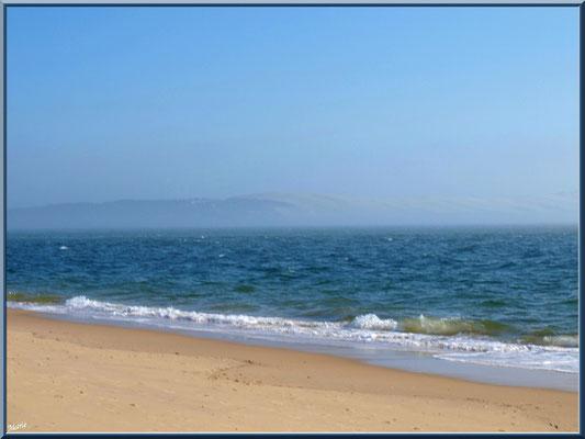 """Bord de plage et en toile de fond la Dune Pyla dans brume, vue depuis """"La Pointe"""" au Cap Ferret"""