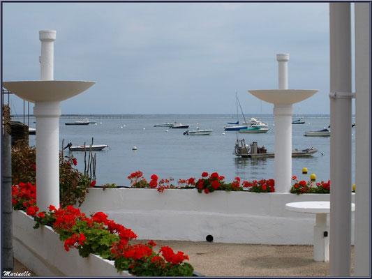 Une terrasse fleurie en bordure de la plage et du Bassin, Village de L'Herbe, Bassin d'Arcachon (33)