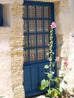 Porte bleue aux valérianes à Talmont-sur-Gironde (Charente-Maritime)