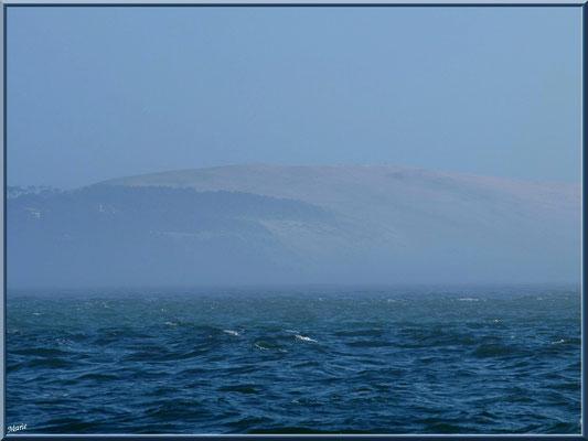 """La Pointe, le Bassin d'Arcachon et en face la Dune du Pyla dans brume, vue depuis la digue """"Bartherotte"""" (Cap Ferret)"""