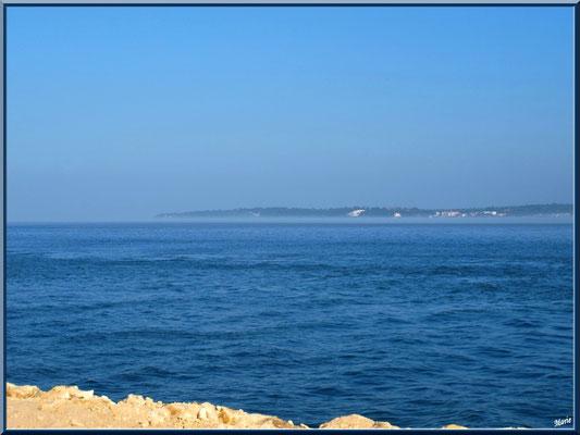 """Le Bassin et Arcachon à l'horizon, vue depuis digue """"Bartherotte"""" (CapFerret)"""