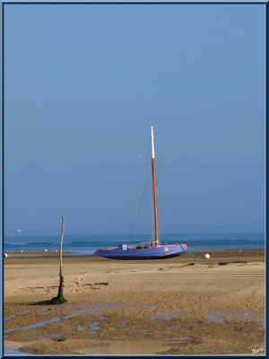 Le Mimbeau, à marée basse, et bac à voile (Cap Ferret)