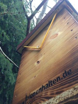 Bienenkasten mit Deckelspannseil und Logo