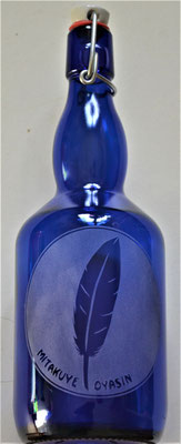 Bouteille bleue cobalt avec Plume et Wopila 0,75L