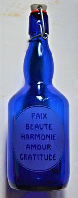 Bouteille bleue cobalt et Mots sacrés (Mod 2) 0.75L