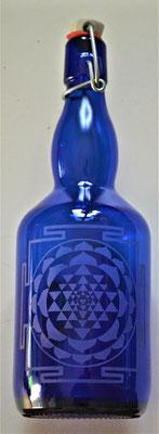 Bouteille bleue cobalt et Shri Yantra 0,75L