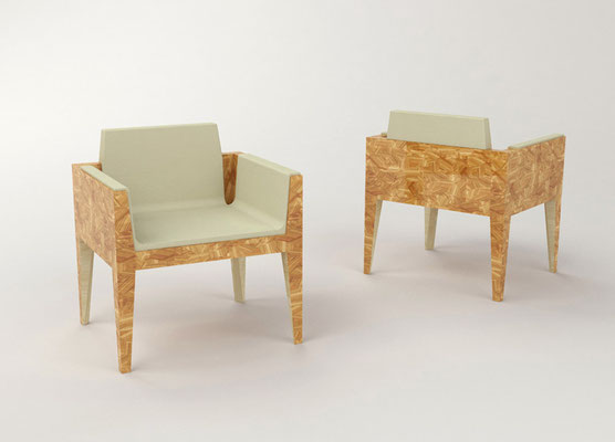 FRAGMENTS fauteuils - placage de tropical oliver - sycomore massif - cuir