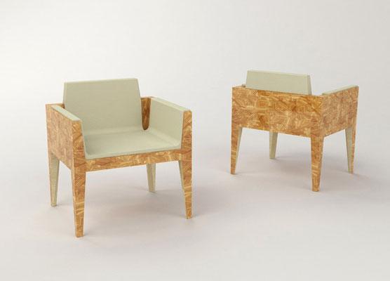 FRAGMENTS fauteuils - marqueterie en citronnier - sycomore - cuir ivoire