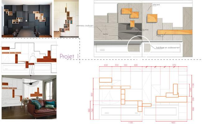 exemple d'une étude proposée pour l'aménagement d'un appartement à Paris